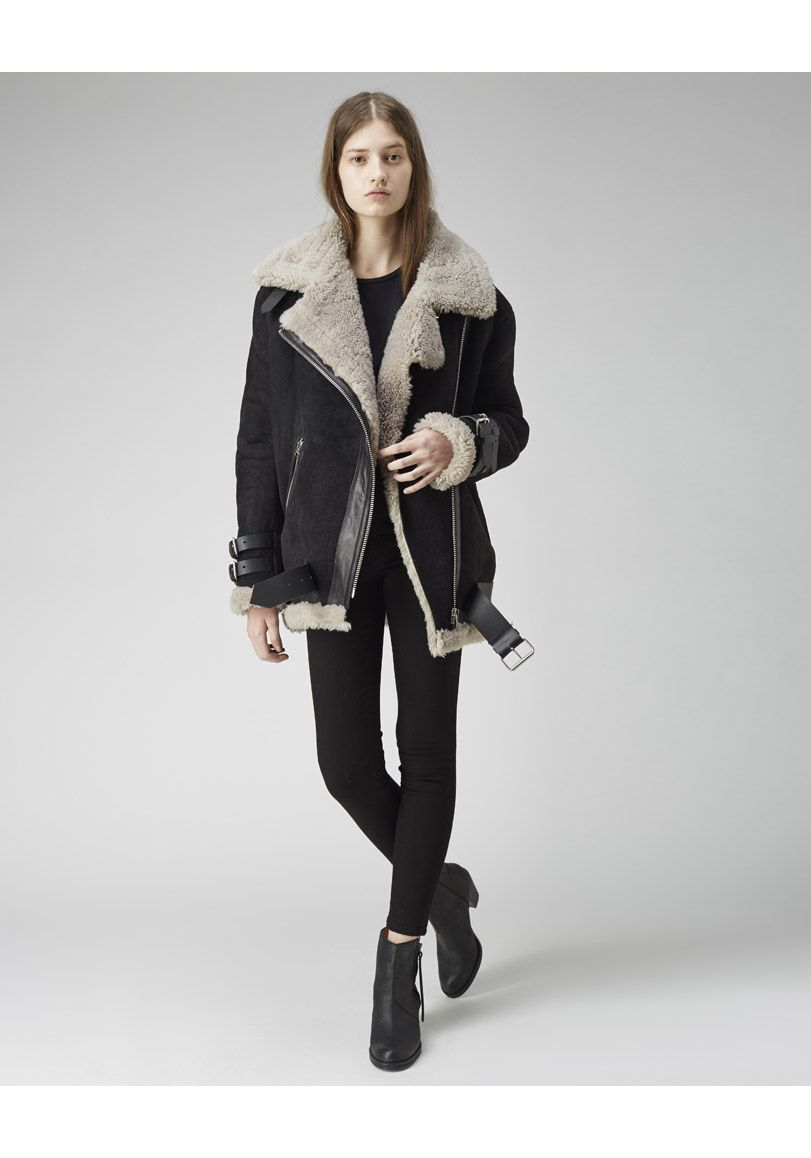 5453b4fadca9 Acne Studios   Velocite Oversized Shearling Jacket  Moto-inspired nubuck  jacket with tonal grey shearling   glossy leather trim.