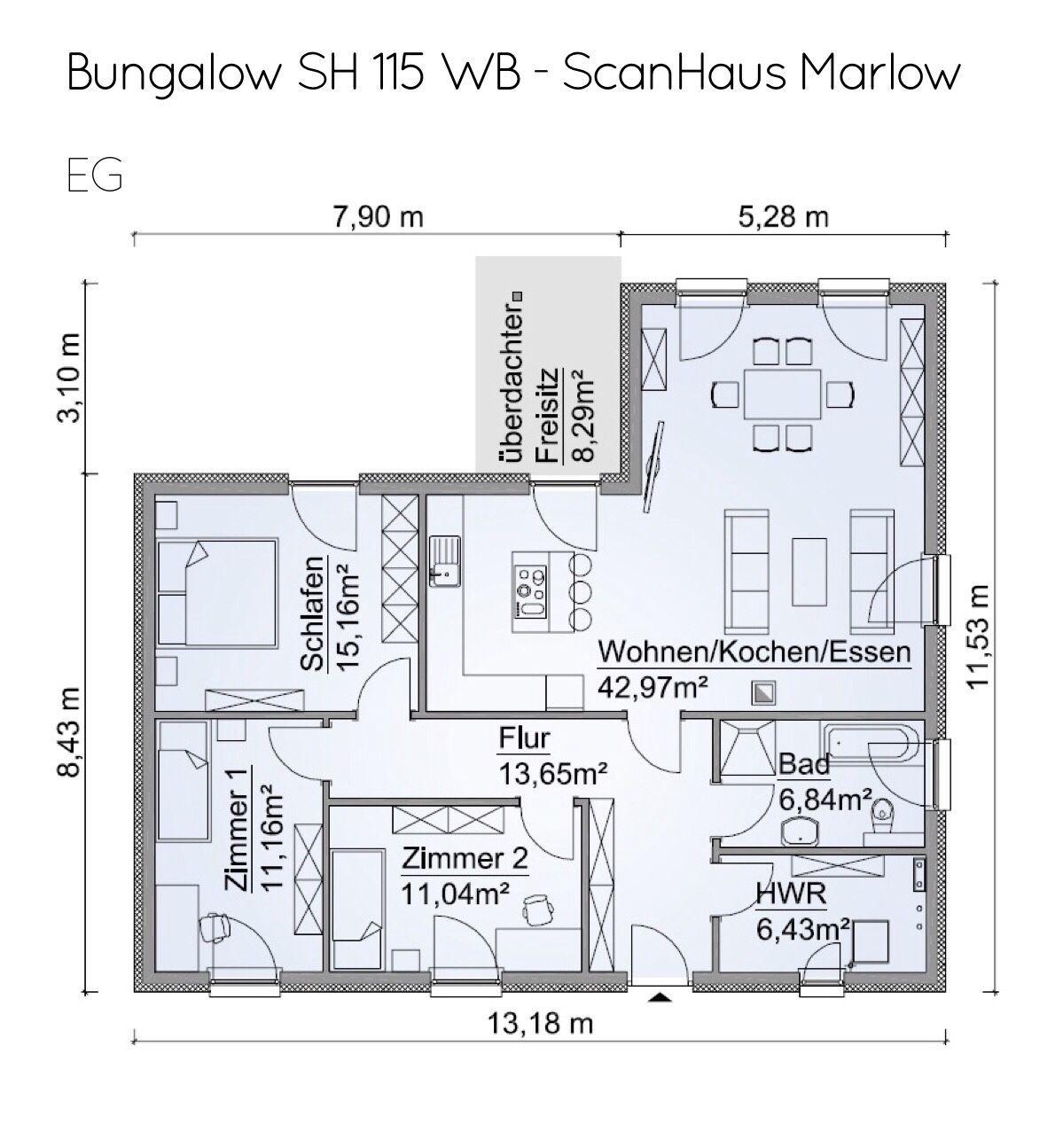 Winkelbungalow Grundriss rechteckig mit Walmdach