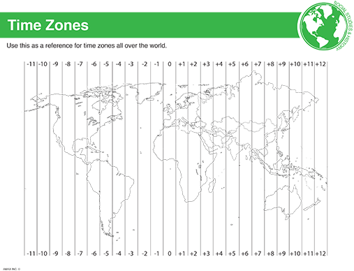 World Time Zone Reference Sheet  School    Time Zones