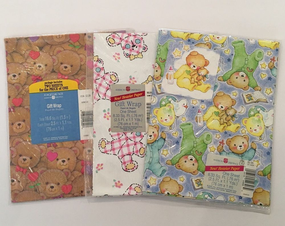 Vintage American Greetings Gift Wrapping Paper Bears Baby Lot Of 3