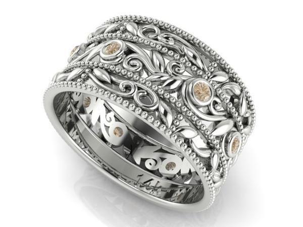 Trending Wide Wedding Band Vine and Leaf Diamond Bands Wedding Diamond Ring Engagement