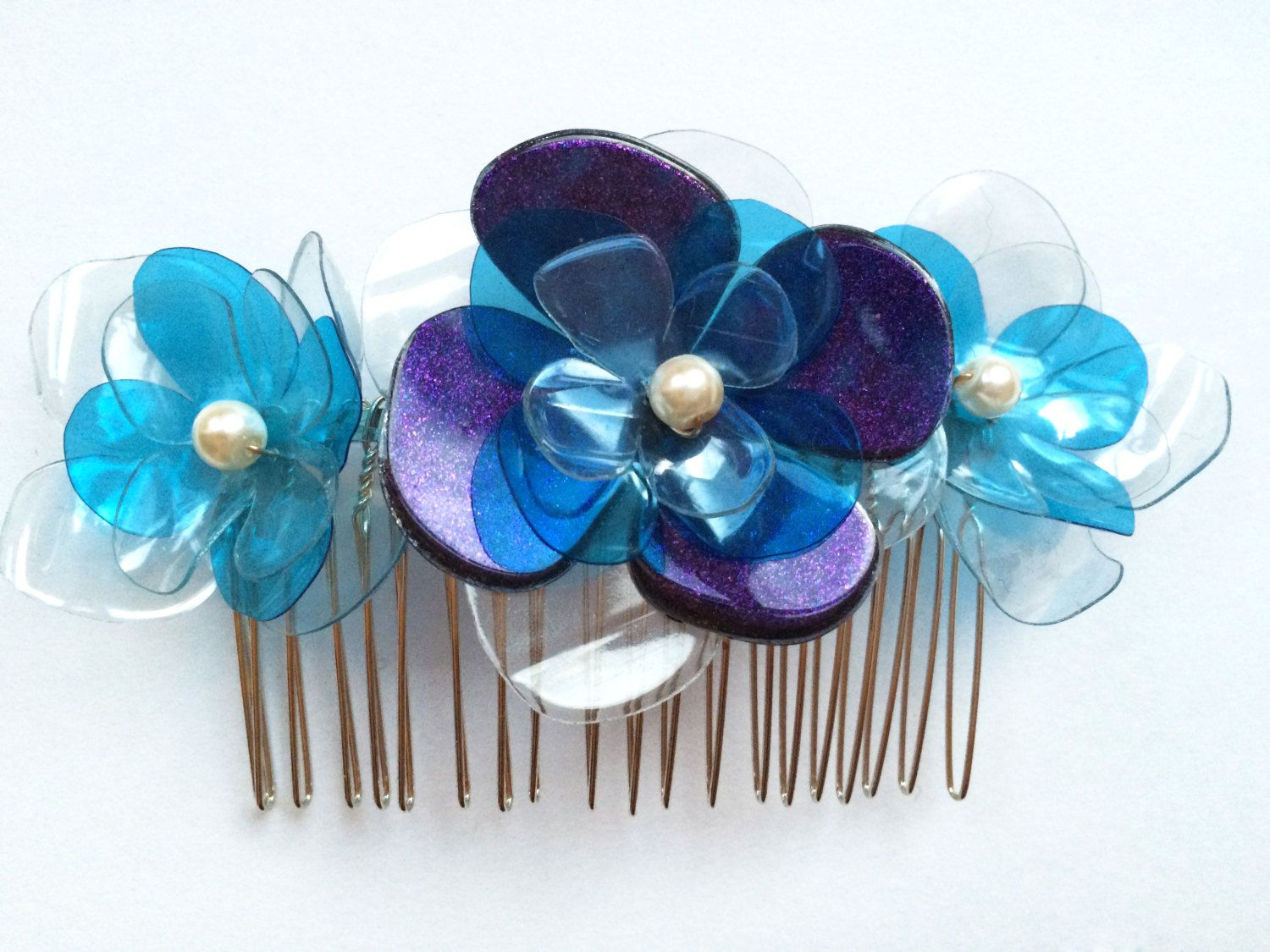 Plastic headbands for crafts - Flower Hair Comb In Blue Plastic Bottle Hair Accessory Recycled Bridesmaid Hair Comb Wedding Headpiece Bridal Headband By Enna