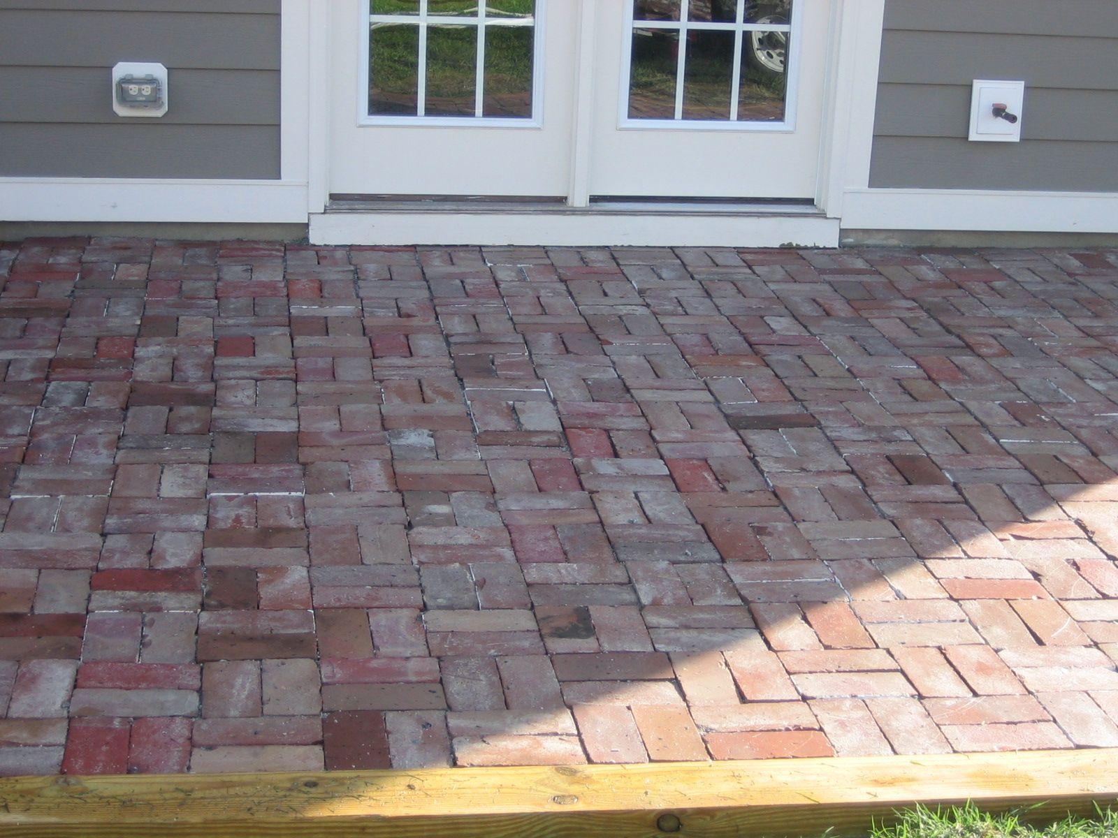 Goodbye Concrete Hello Reclaimed Brick Patio Concrete Patio Reclaimed Brick Patio Brick Patios