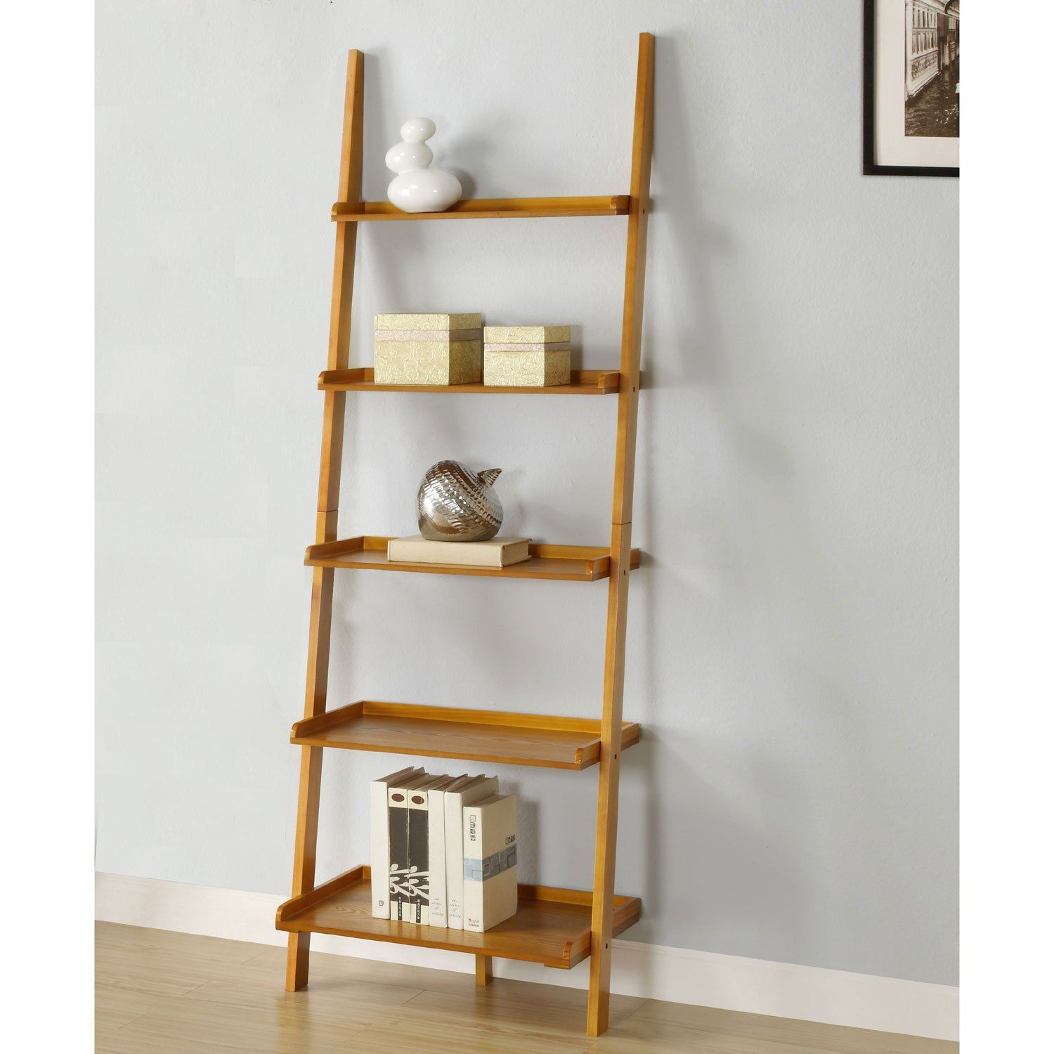 Wood Leaning Ladder Bookcase Golaria Com In 2020 Ladder Bookcase Wall Bookshelves Leaning Bookcase