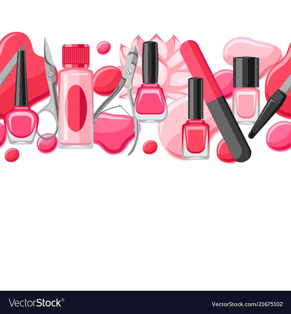 Seamless pattern with manicure tools vector image on