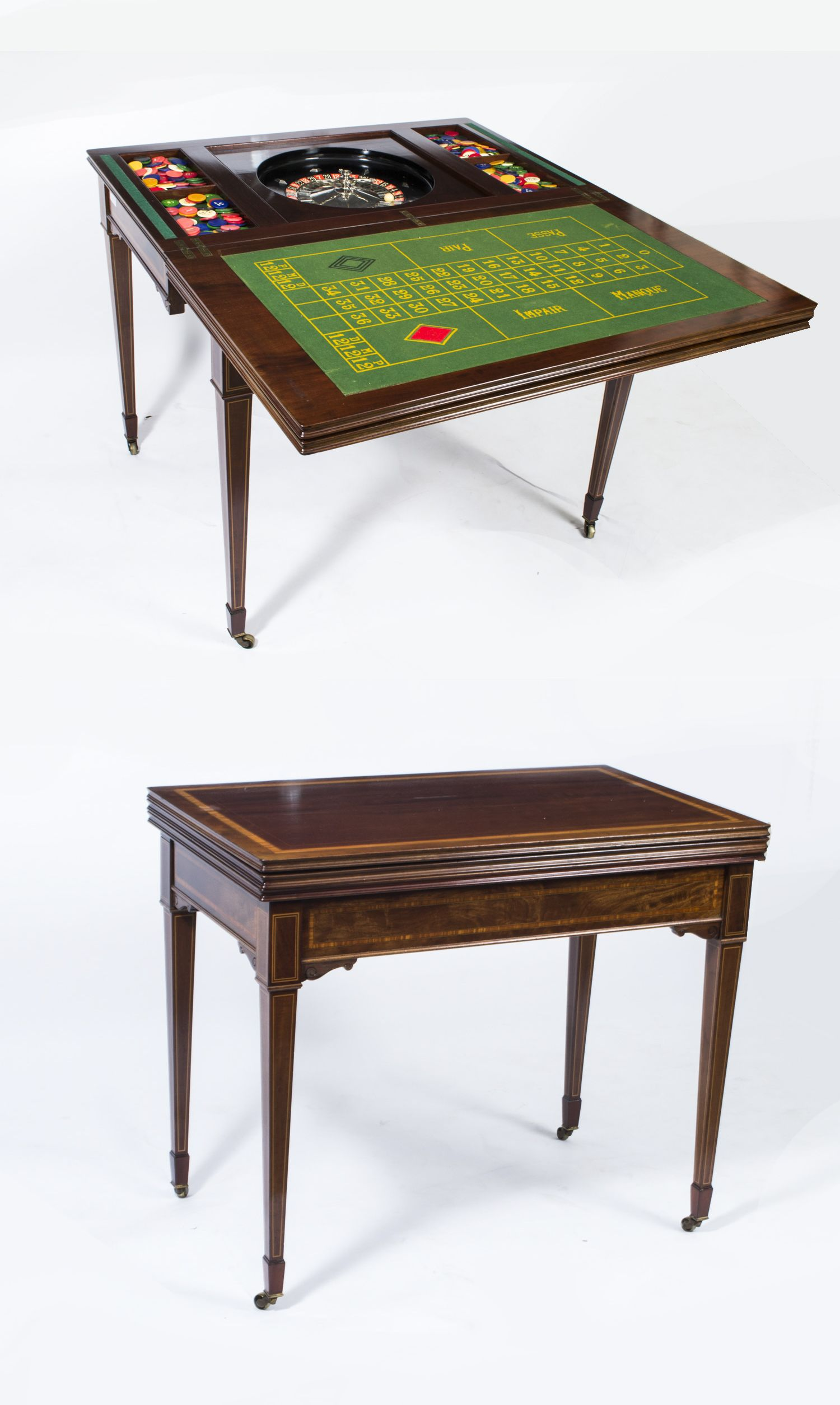 A beautiful antique Edwardian roulette table from the turn of the