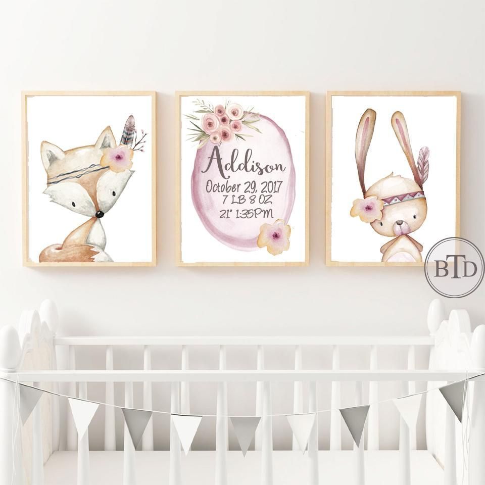 Boho Baby Birth Stats Woodland Nursery Wall Art Print Baby