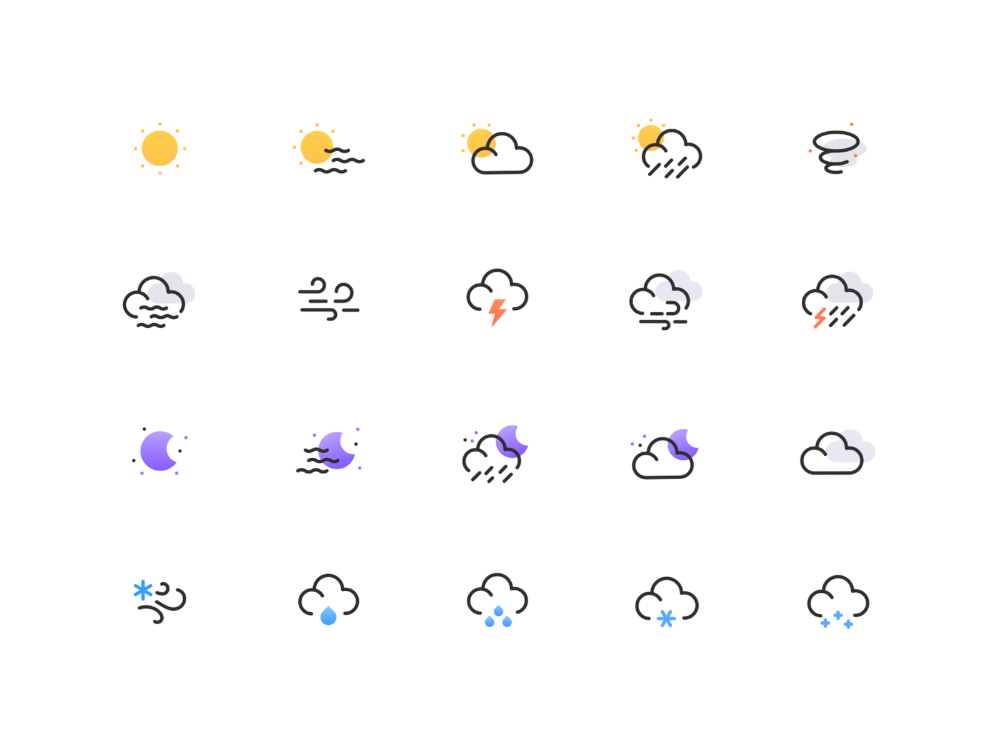 Weather icon set in 2020 Weather icons, Icon set