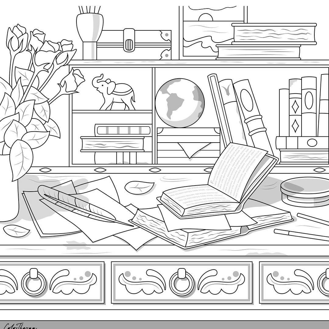The Sneakpeek For The Next Gift Of The Day Tomorrow Do You Like This One Antique Desk Detailed Coloring Pages Printable Coloring Pages Coloring Books