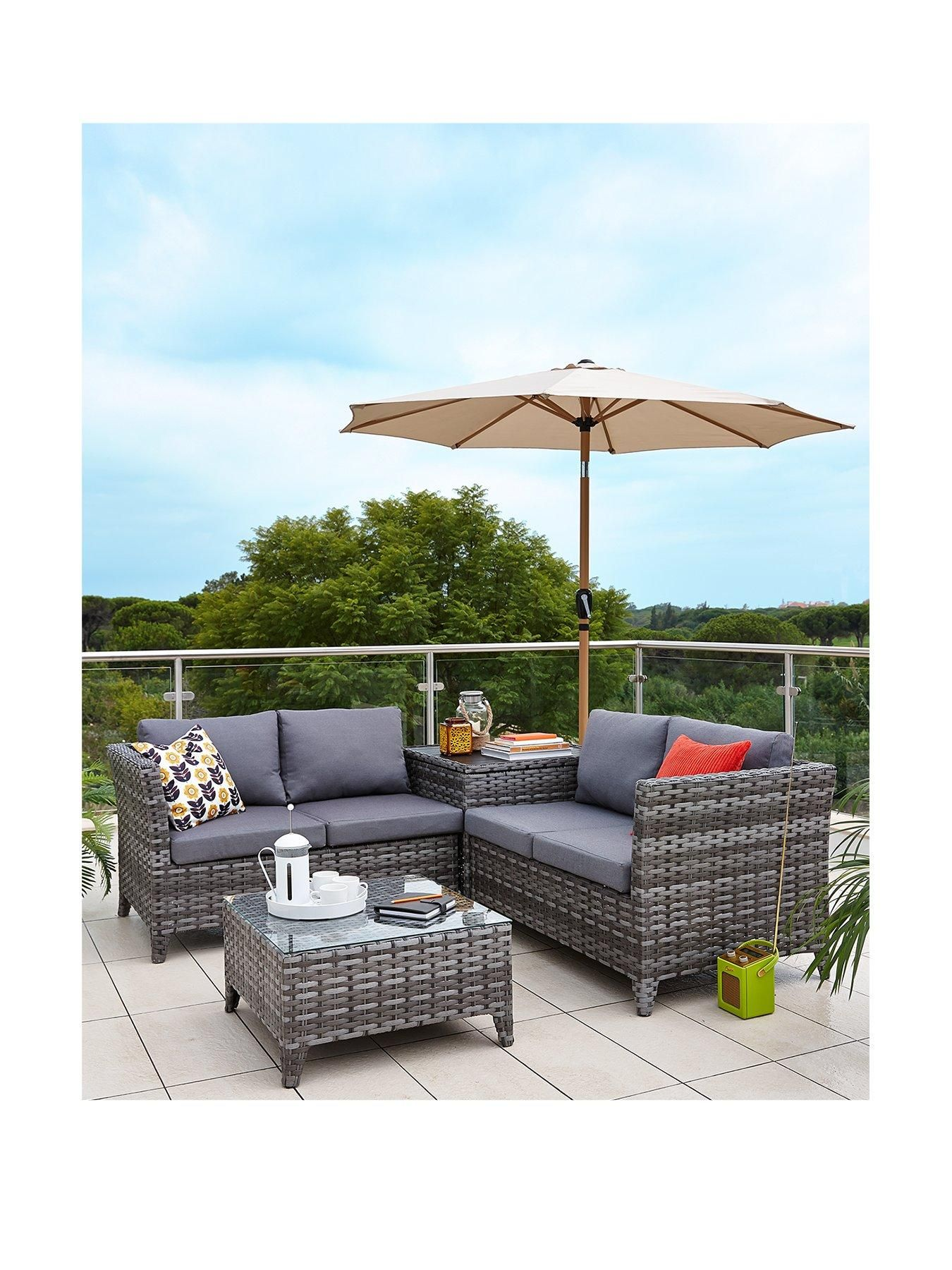 Make the most of your outdoor space with this Aruba 4-Seater Rattan Corner  Set.It cleverly combines a pair of stylish 2-seater sofas together to  create a ... 11a78caddc