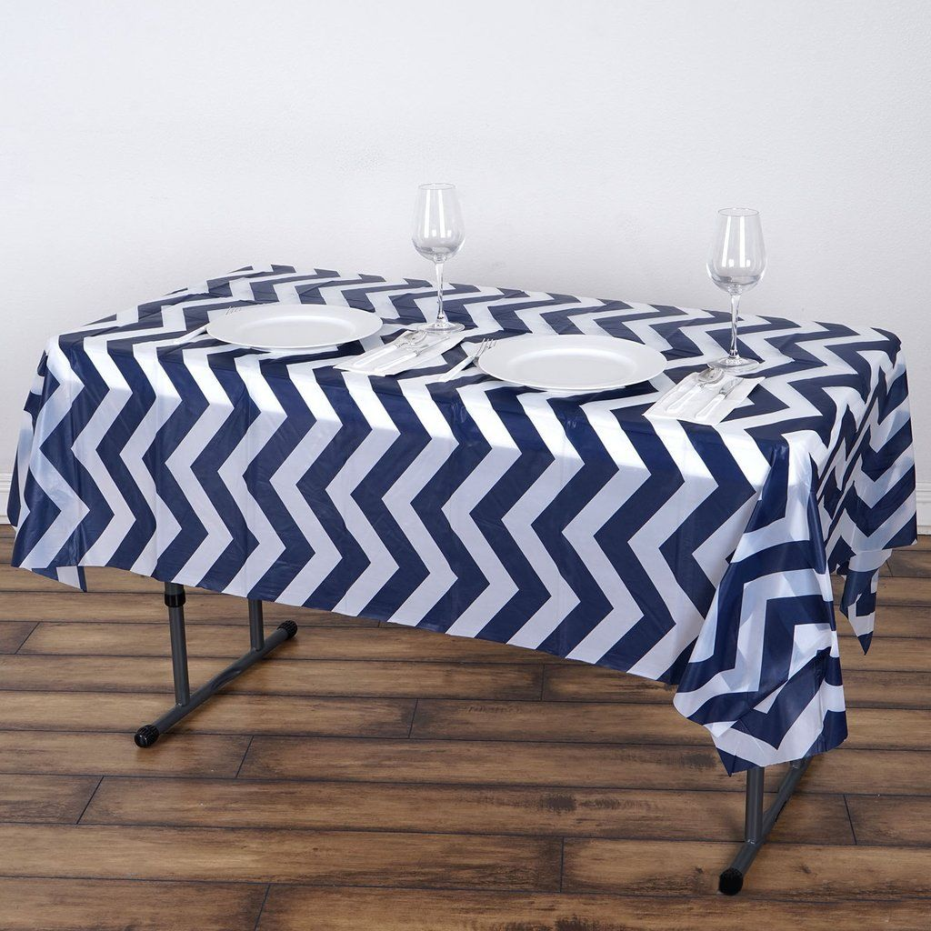 54 X 72 Navy Blue 10 Mil Thick Chevron Waterproof Tablecloth Pvc Rectangle Disposable Tablecloth Waterproof Tablecloth Plastic Table Covers Vinyl Tablecloth