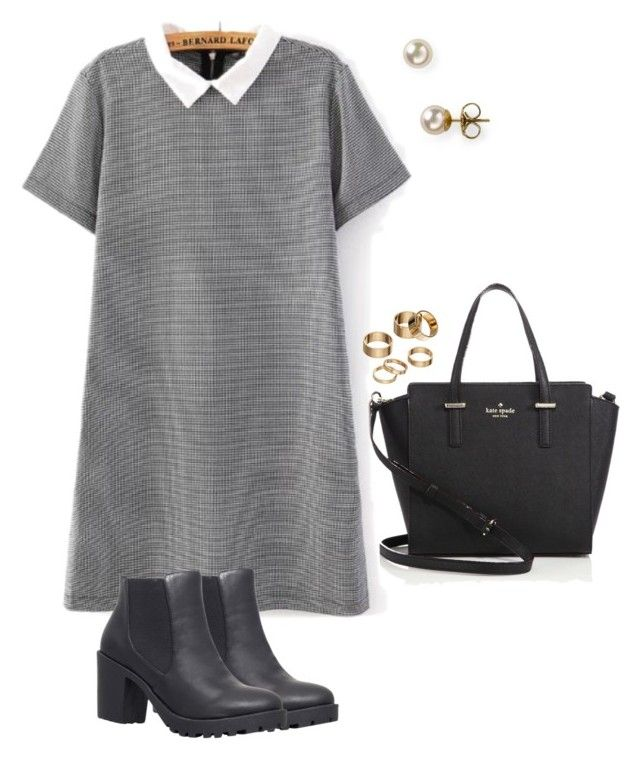 """""""Houndstooth collard dress"""" by kara-coleman ❤ liked on Polyvore featuring Kate Spade, Majorica, Carvela, Apt. 9, black and houndstooth"""