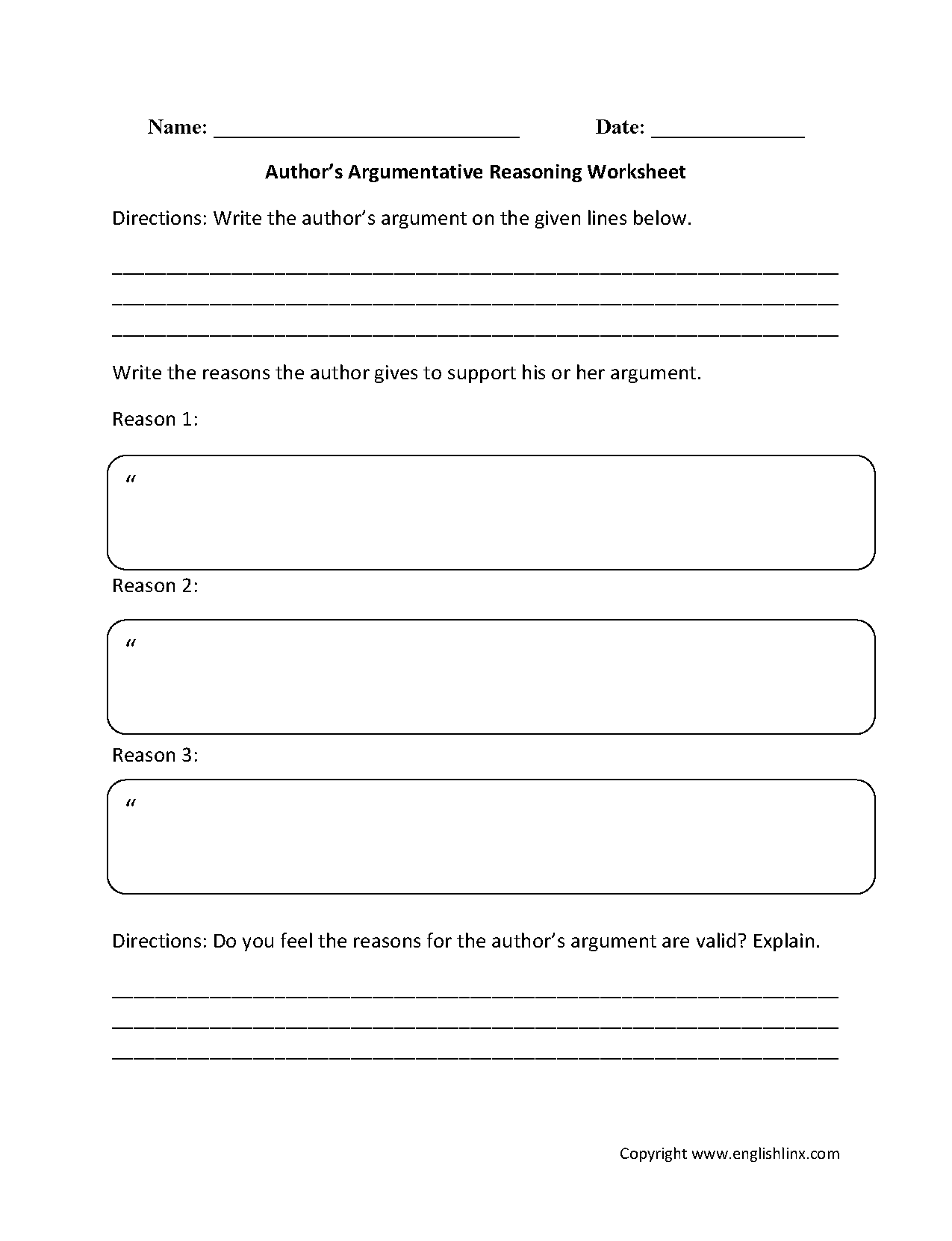 Author S Argumentative Reasoning Reading Comprehension Worksheets