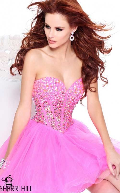 I LOVE this pink sparkly Sherri Hill dress!!!! So pretty and girly ...