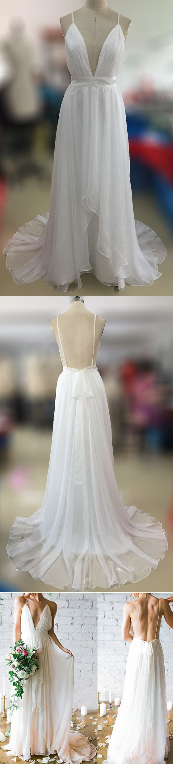 Affordable simple open back white v neck beach wedding dresses
