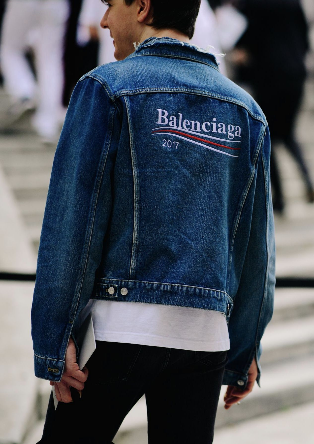 Balenciaga Mens Fall 2017 Bernie Sanders Inspired Collection Classic Denim Embroidered Jacket Mens Luxury Fashion Balenciaga Mens Mens Fall [ 1790 x 1266 Pixel ]