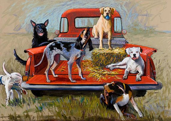 Large Print Tailgate Party Dog Hound Pick Up Truck Red