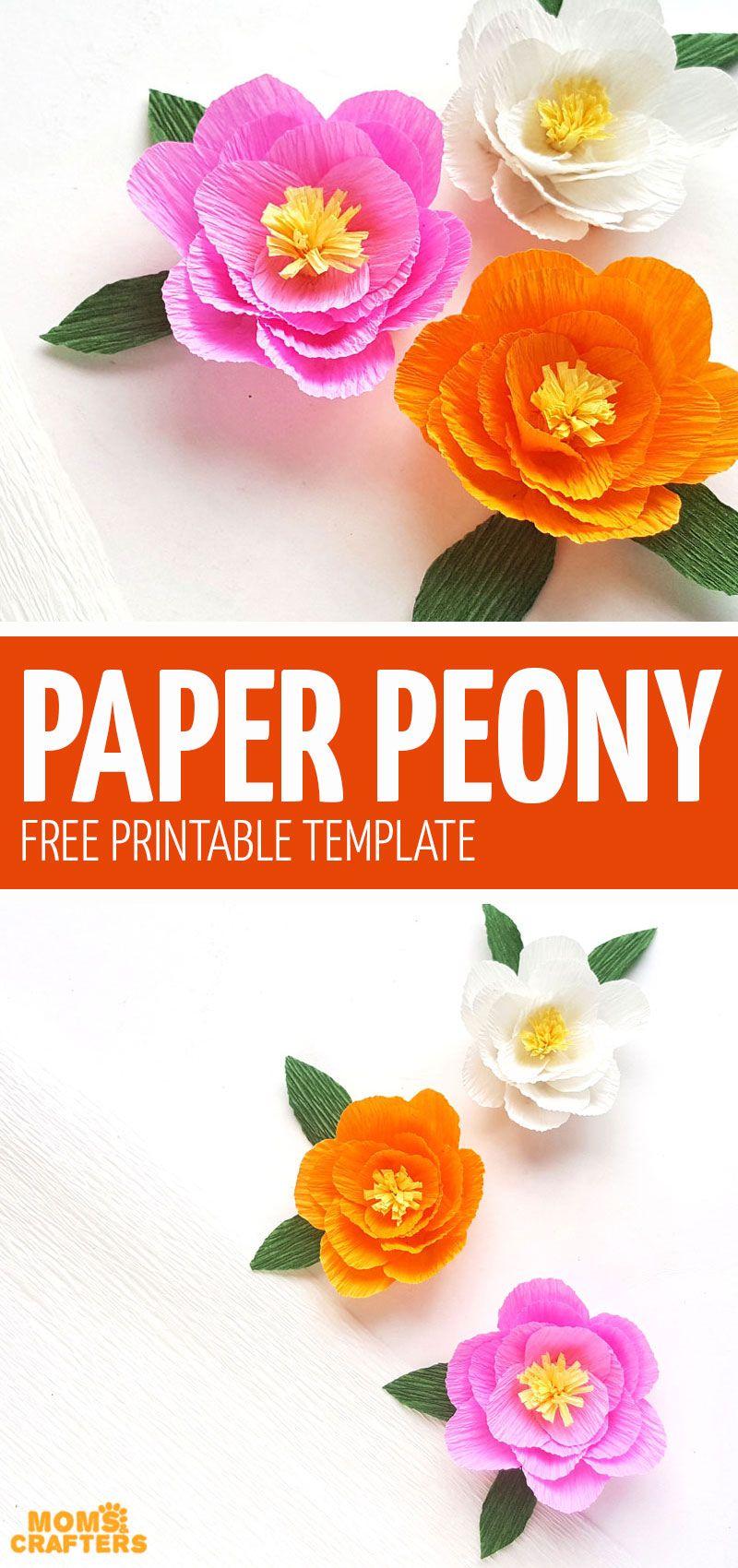 Crepe Paper Peony Template - free printable -   19 diy paper peonies ideas