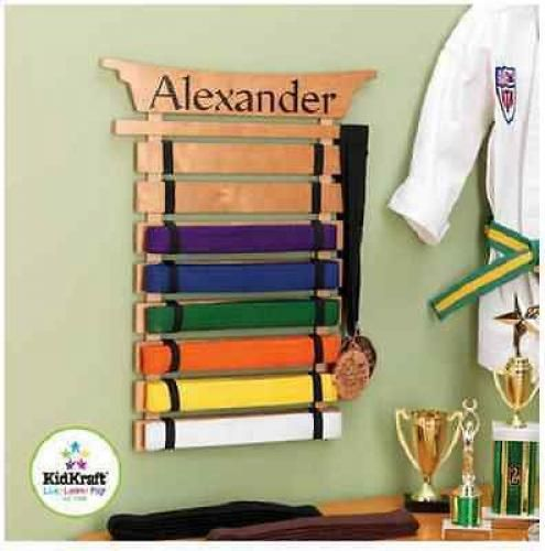 Karate Belt Display Wall Mount 10 Level Taekwondo Judo Jiu-Jitsu Freestanding