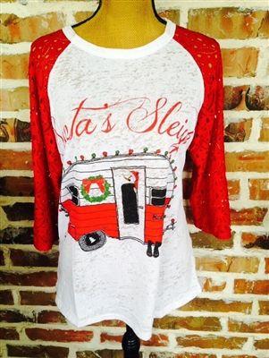 Adorable new Christmas burnout t-shirt!  Santa's Sleight