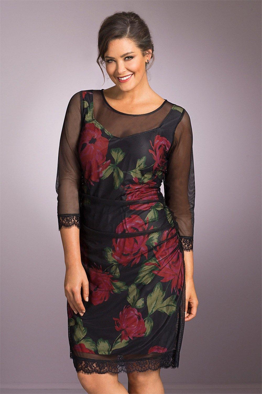 291ed728d61 Plus Size Dresses   Evening Wear - Sara Mesh Overlay Dress - EziBuy New  Zealand  plussize