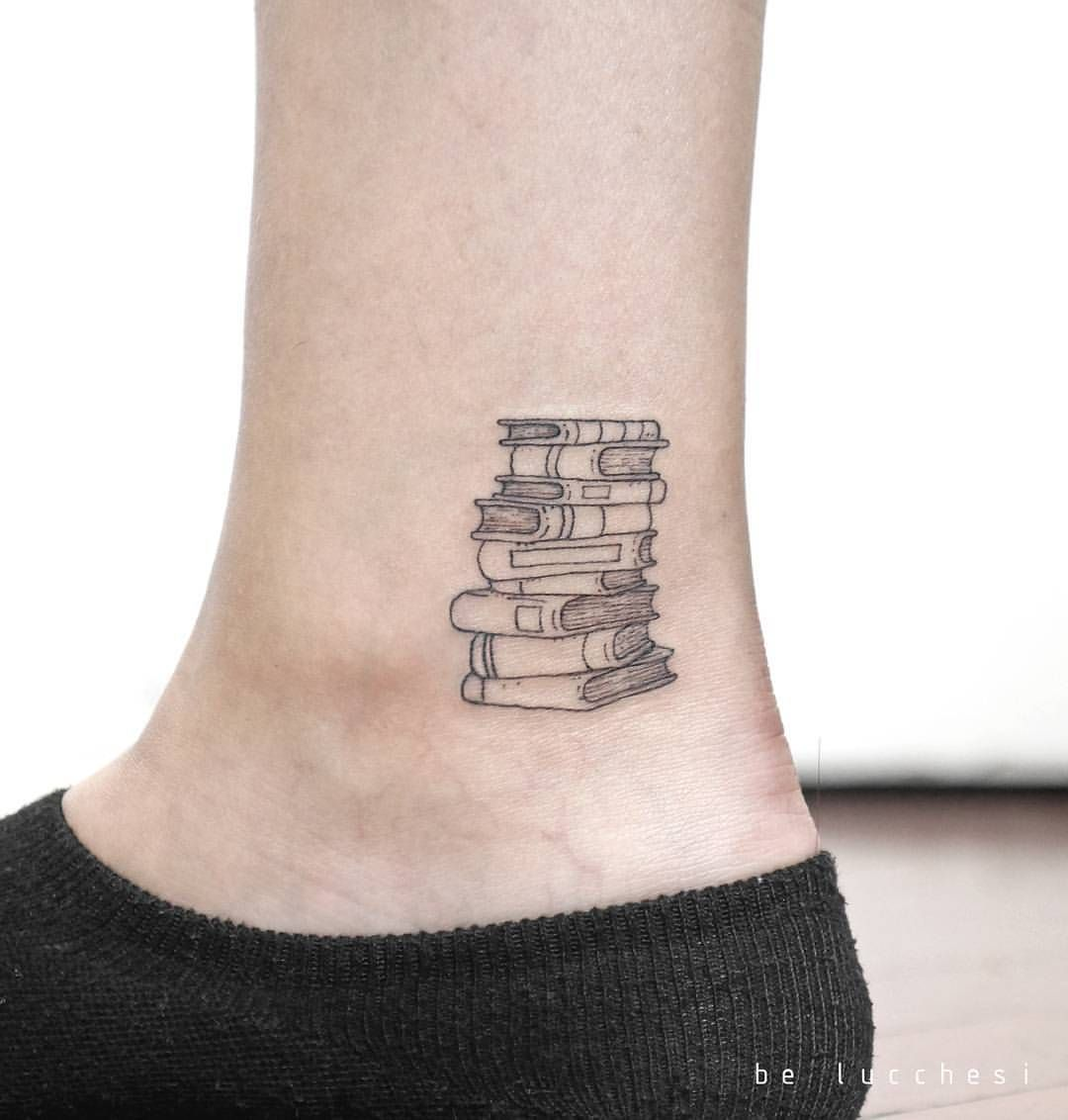 "6,702 Likes, 86 Comments - Small Tattoos (@small.tattoos) on Instagram: ""Book stack by @be.tattoo · Berlin via @tattoofilter"""