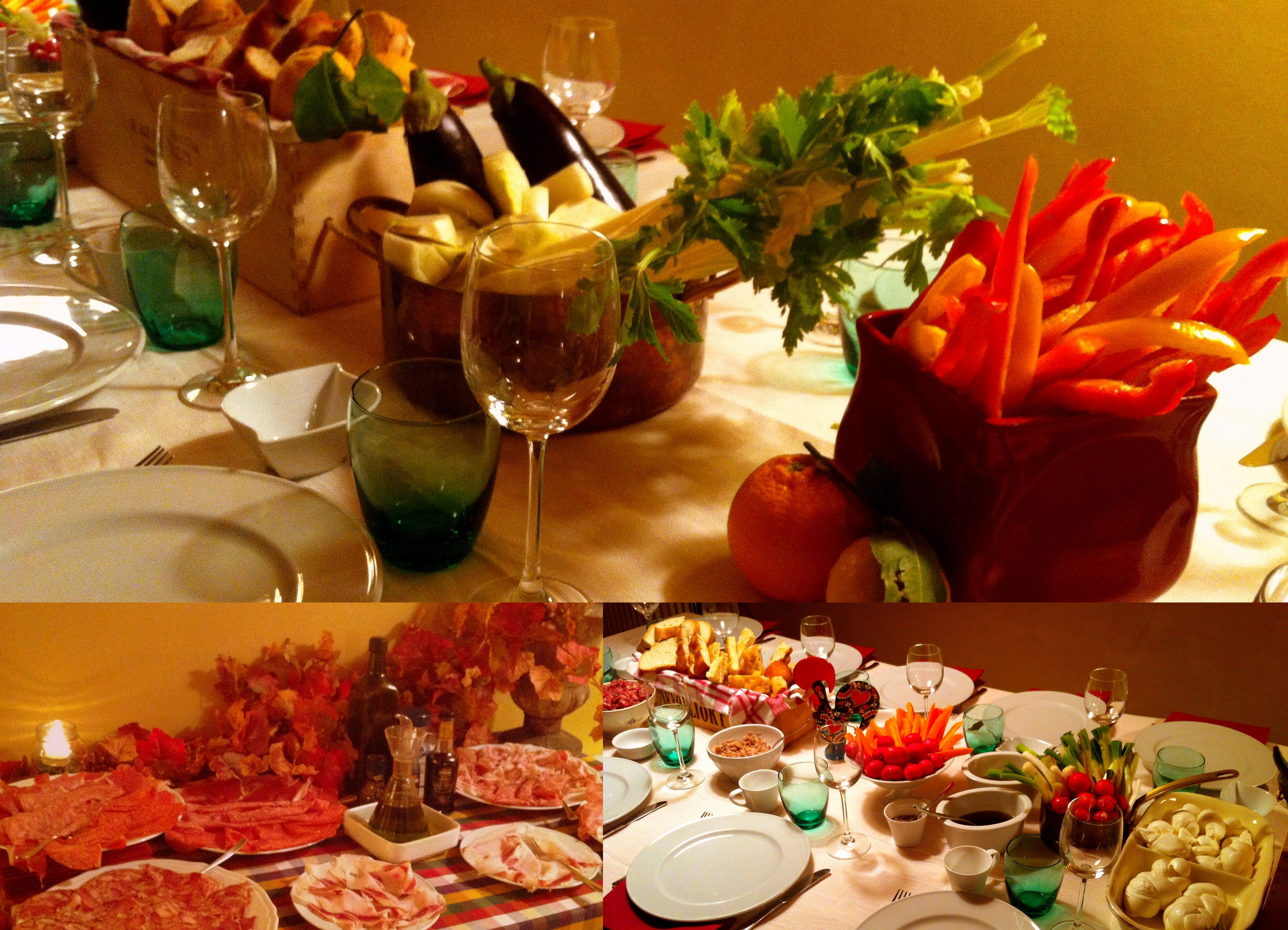 """Friday night, with friends, at home: Tuscany and it's products as """"Special guests""""."""
