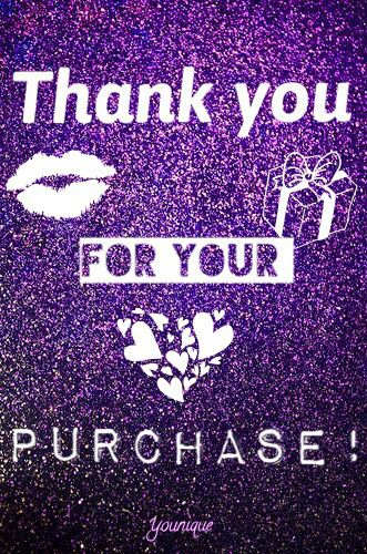 Thank You For Your Purchase Order Younique Purple Glitter Love