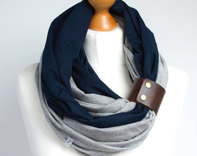 Infinity scarf with leather cuff, scarf, scarf with cuff ...