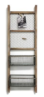 Chicken Wire Wall Ladder Organizer Basket In 2020 Wall Ladders Metal Wall Basket Wall Basket Storage