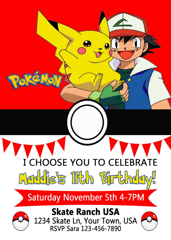 Pokemon Birthday Invitation By FromKelliwithlove On Etsy Invitations Monkey Monkeys