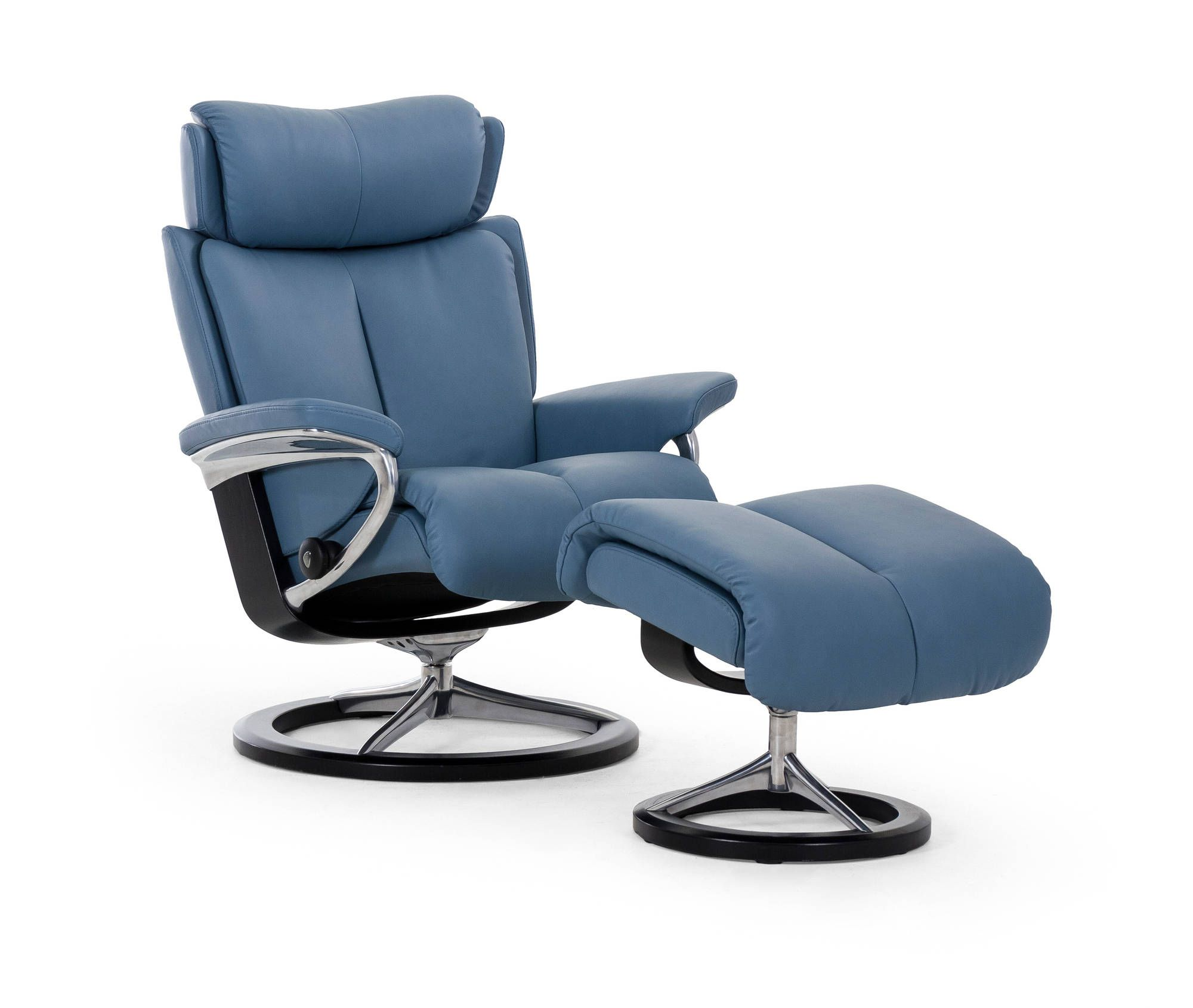 Stressless Magic Recliner in Paloma Leather (color Sparrow Blue) with Signature Base (  sc 1 st  Pinterest & Stressless Magic Recliner in Paloma Leather (color: Sparrow Blue ... islam-shia.org