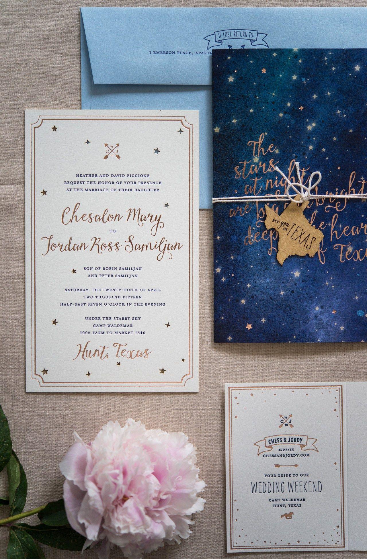 Rose gold foil night sky wedding invitations rose gold foil night