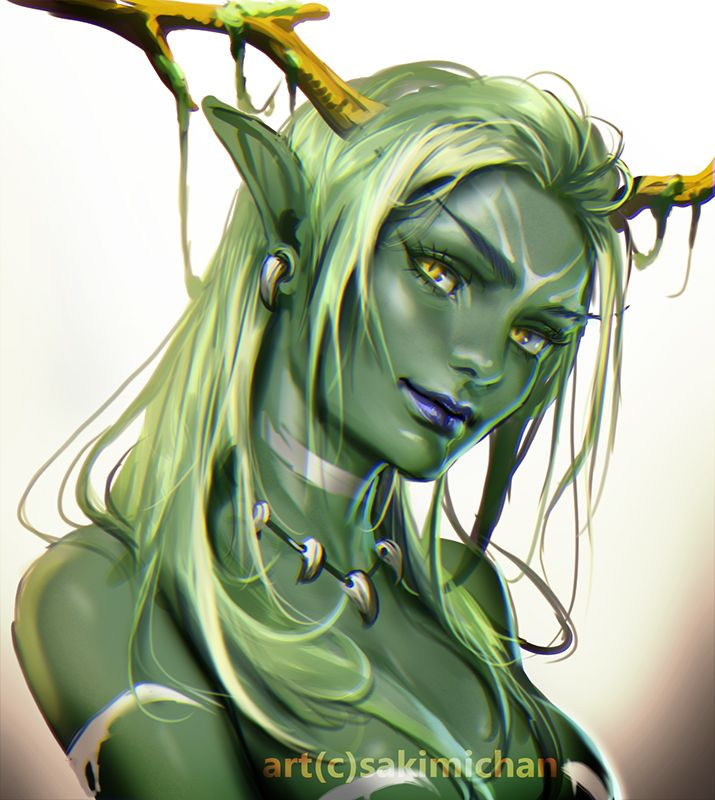 Green Elf By Sakimichan Female Druid Antlers Monster -9292