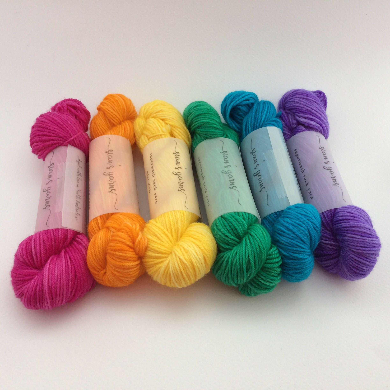 A personal favourite from my Etsy shop https://www.etsy.com/au/listing/521363482/mini-skein-rainbow-120g-sock-yarn-6x20g