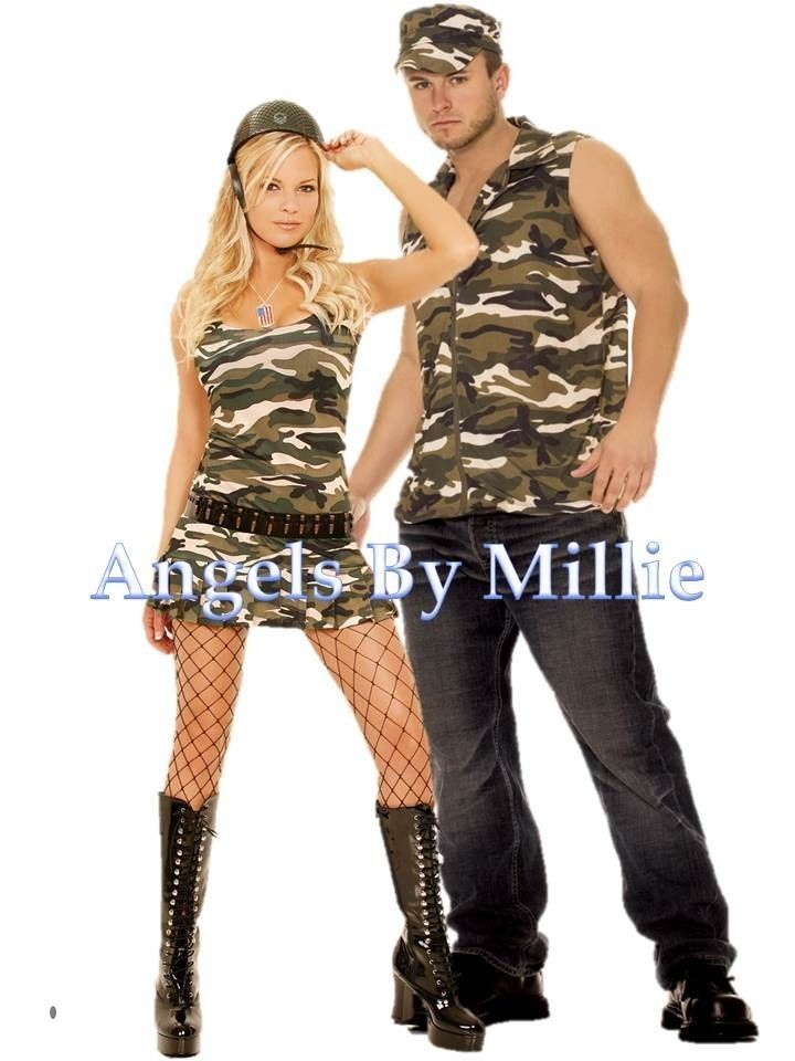 Details About Couples Halloween Costume Set Army Military -4983