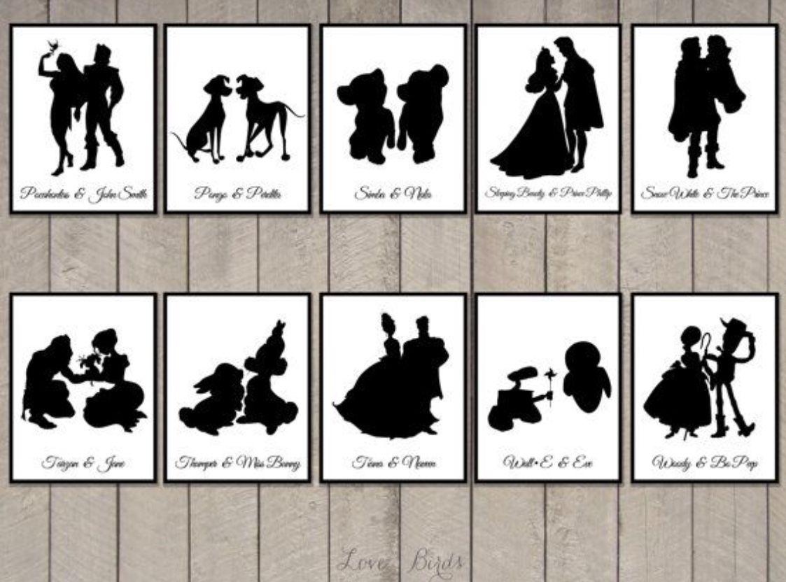 graphic regarding Disney Silhouette Printable named Printable Disney silhouettes Bridal Showers in just 2019 Card