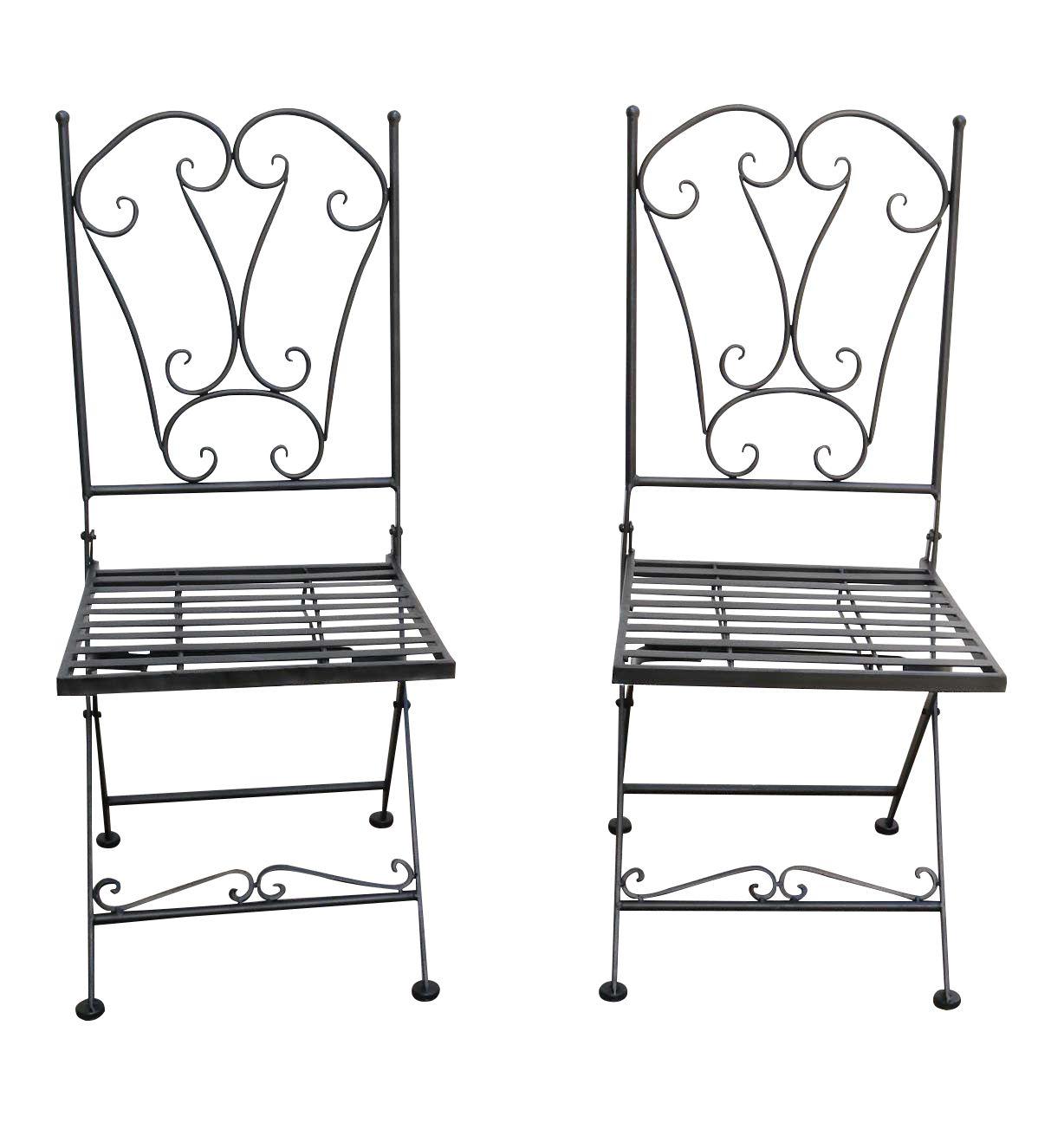 Wunderschones Paar Gartenstuhle In Schwarz Aus Eisen Im Antik Stil