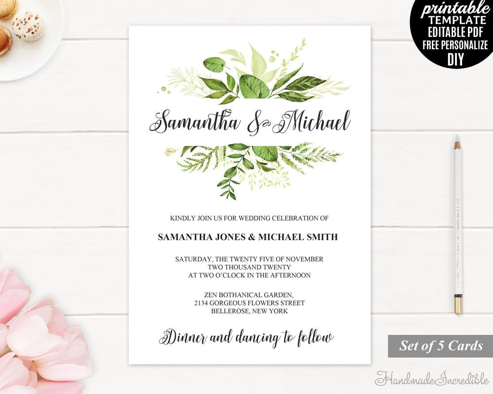 Greenery Wedding Invitation. Wedding Invitation Template. Printable ...
