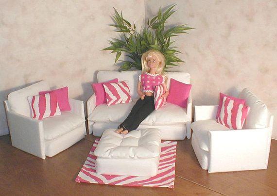 Barbie Doll Furniture WHITE lIVING ROOM Set with Hot Pink Zebra ...