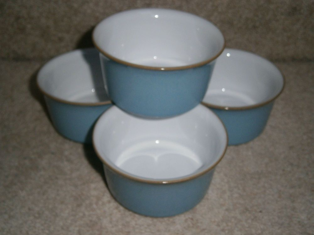 4 LOVELY STYLISH RARE DENBY COLONIAL BLUE RAMEKIN DISHES DISCONTINUED & 4 LOVELY STYLISH RARE DENBY COLONIAL BLUE RAMEKIN DISHES ...