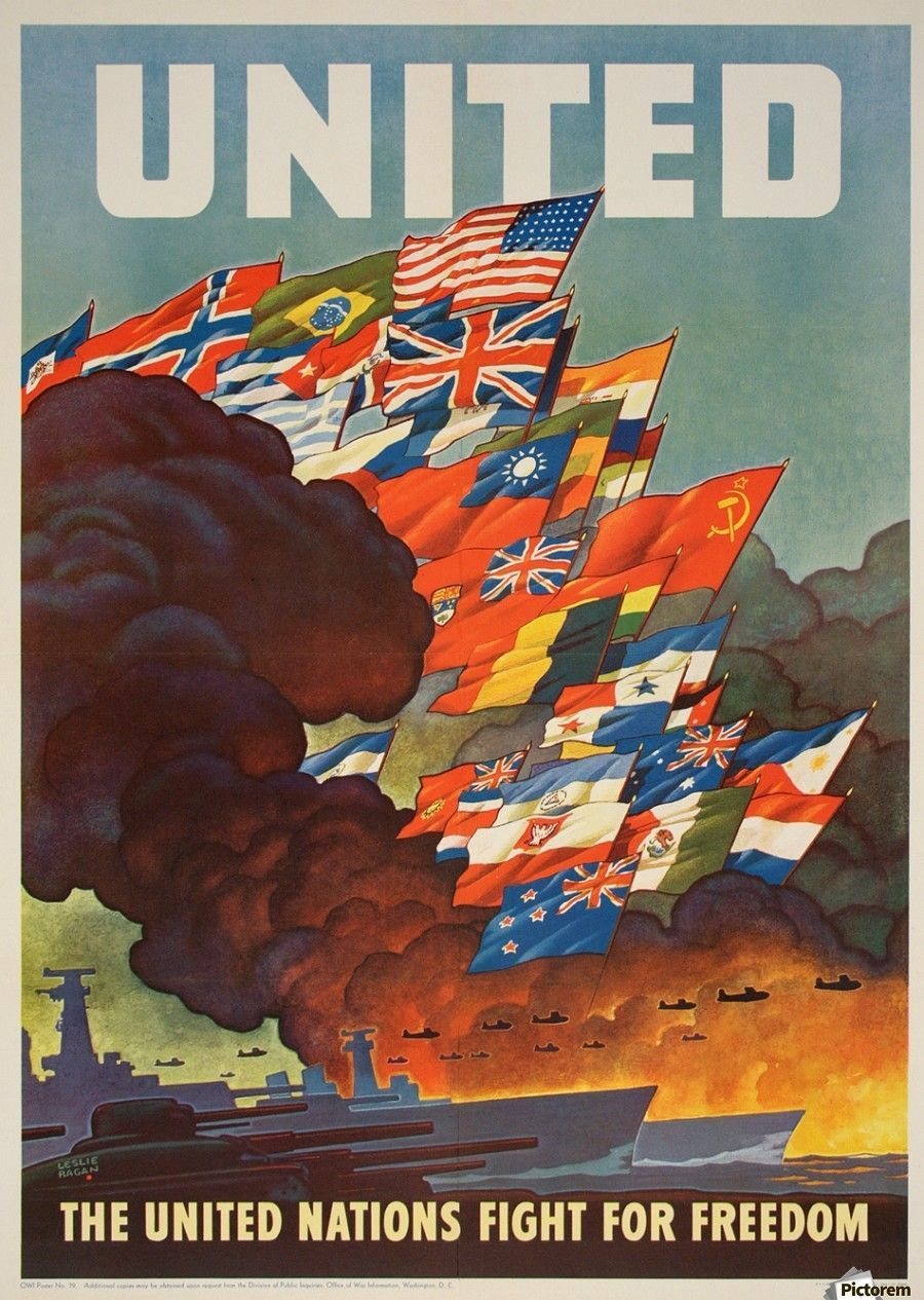 United Nations Fight for freedom vintage poster - VINTAGE POSTER - Canvas Artwork - #- #artwork #Canvas #Fight #for #freedom #Nations #Poster #United #Vintage