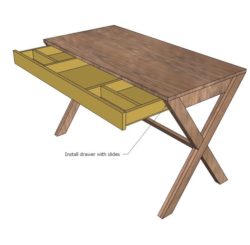 X Desk With Drawer Diy Desk Plans Desk With Drawers Diy Drawers