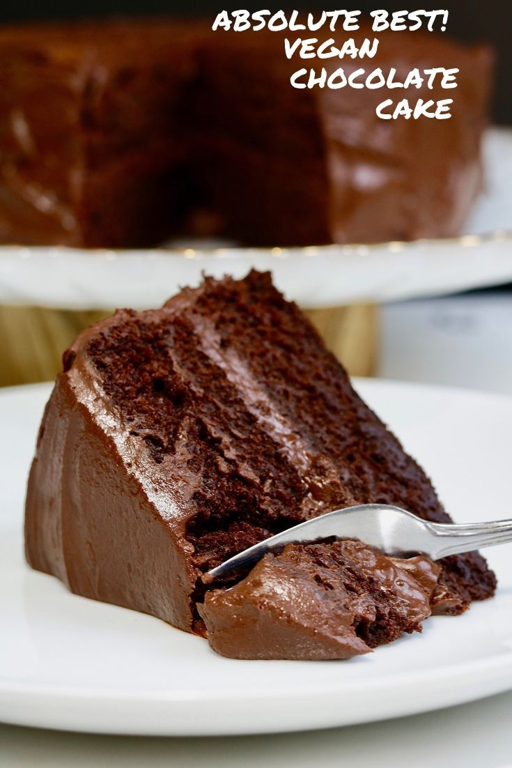 Vegan Chocolate Cake - The Best Recipe! This Moist & Fudgy Vegan Chocolate Cake Recipe is the BEST Vegan Cake recipe ever! Quick and Easy, Rich and chocolatey with the most delicious Chocolate Ganache Vegan Icing, you'd never know this cake is dairy free and egg free. #cheeky_chickpea_ #vegan #plantbased #chocolate #cake #ganache #easy #best #birthdaycake #chocolatecake