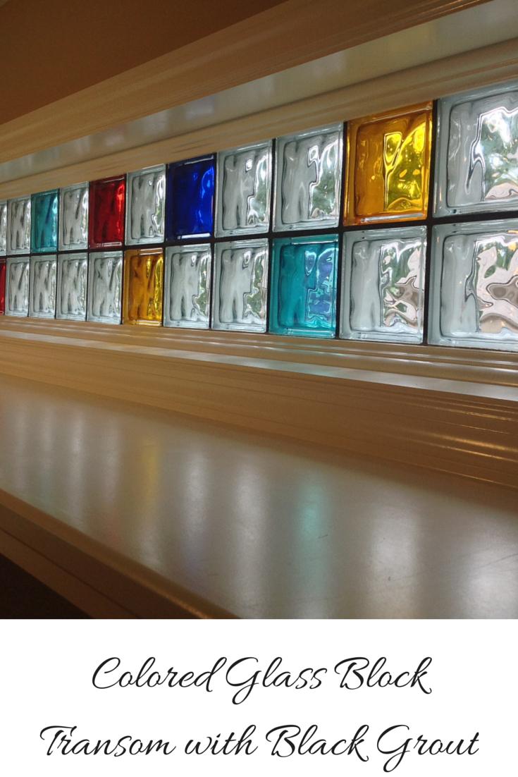 Eye Popping Piet Mondrian Inspired Colored Glass Block Transom