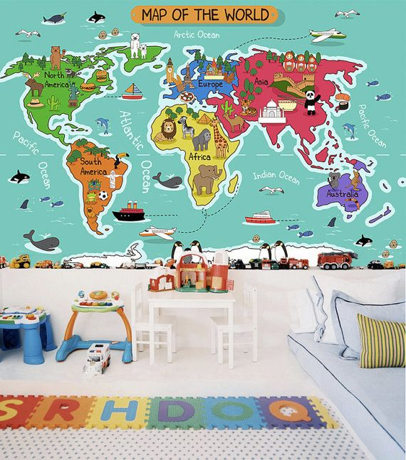 Childrens world map wallpaper removable wall mural animal self childrens world map wallpaper removable wall mural animal self adhesive wall sticker childrens room ocean aqua blue turquiose wall mural gumiabroncs Images