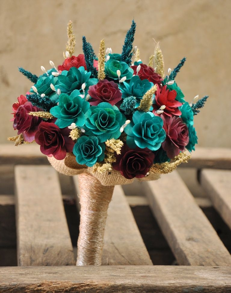Maroon and Teal Bouquet Made of Wooden Flowers for