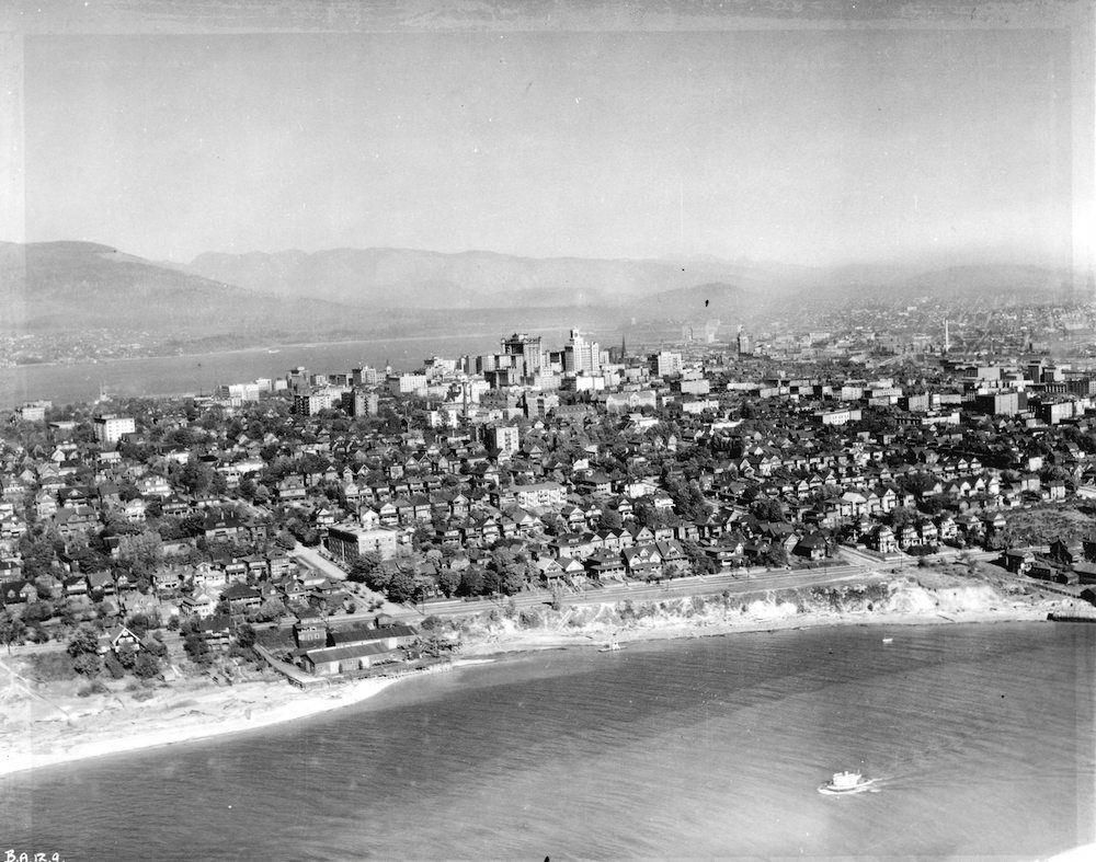 Aerial view looking north from False Creek, 1926 (Photo by