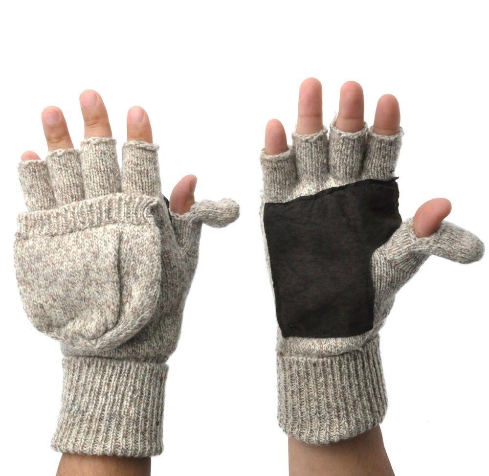 Aran Woollen Oatmeal Fingerless Mittens