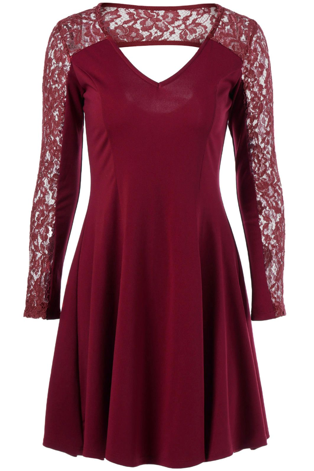 lace trim cut out dress wine red style pinterest